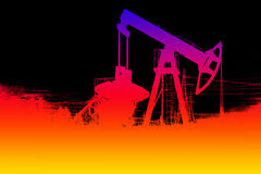 Silhouette of color oil pump. Royalty Free Stock Photo
