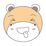 Silhouette color sections of cute face of hippo sticking out tongue expression. Vector illustration Stock Image