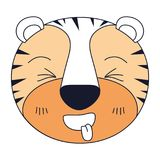 Silhouette color sections of cute face of tiger sticking out tongue expression. Vector illustration Stock Photo