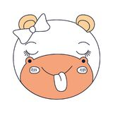 Silhouette color sections face female hippo animal sticking out tongue expression. Vector illustration Stock Photography