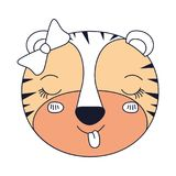 Silhouette color sections face female tigress animal sticking out tongue expression. Vector illustration Royalty Free Stock Image