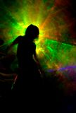 Silhouette in color smoke Royalty Free Stock Photo