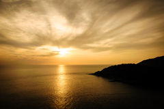 Silhouette with color of the sunset, Phuket Thailand Royalty Free Stock Photography