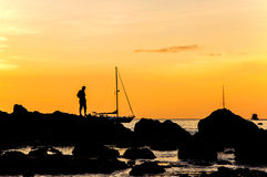Silhouette with color of the sunset, Phuket Thailand Royalty Free Stock Photo