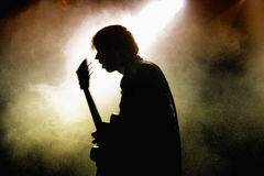 Silhouette on a colores fog/smoke of Black Box Revelation. BARCELONA, SPAIN - APRIL 4: Silhouette on a colores fog/smoke of Black Box Revelation band at Music Royalty Free Stock Photography