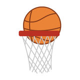 Silhouette colorful with basketball hoop and ball Royalty Free Stock Image