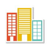 Silhouette colorful with buildings without trees Stock Image