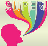 Silhouette With Colorful Caption of Super!. Brightly colored silhouette of man shouting with colorful caption of the word super Stock Images