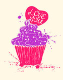Silhouette of colorful cupcake with heart Stock Photos