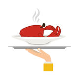 Silhouette colorful dish with hot crab in tray Royalty Free Stock Image