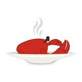 Silhouette colorful dish with hot crab Royalty Free Stock Image