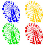 Silhouette colorful ferris wheel. Vector illustration Royalty Free Stock Photography
