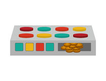 Silhouette colorful panel buttons with coins Royalty Free Stock Photography