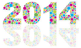 2014 Silhouette with Colorful Polka Dots Royalty Free Stock Images