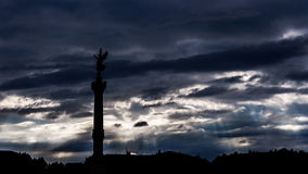 Silhouette of a column in Place de Quinconces -  Stock Photography