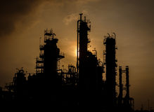 Silhouette column tower in petrochemical plant Stock Image