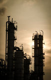 Silhouette of column tower in petrochemical plant Stock Photos