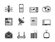 Silhouette Communication and Business Icons Royalty Free Stock Photography