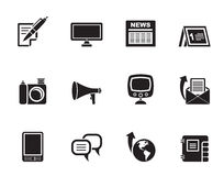 Silhouette Communication channels and Social Media icons Stock Photography