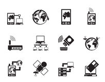 Silhouette communication, computer and mobile phone icons. Vector icon set Stock Photography