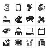 Silhouette Communication, connection  and technology icons. Vector icon set Royalty Free Stock Photo