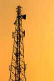 Silhouette of Communication Tower Stock Images