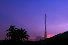 Silhouette communications Tower Stock Image