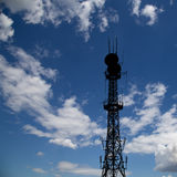 Silhouette communicatios tower  against the sky Royalty Free Stock Photography