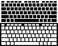 Silhouette Computer Keyboard Vector Isolated. Black and White Ve Stock Illustration