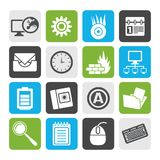 Silhouette Computer, mobile phone and Internet icons. Vector Icon Set Stock Photos