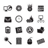 Silhouette Computer, mobile phone and Internet icons. Vector Icon Set Stock Images