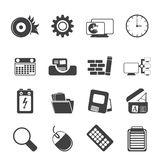 Silhouette Computer, mobile phone and Internet. Vector Icon Set Royalty Free Stock Photography