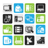 Silhouette Computer Network and internet icons Stock Photo