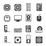 Silhouette Computer  performance and equipment icons Royalty Free Stock Images