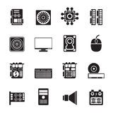 Silhouette Computer  performance and equipment icons Stock Photography