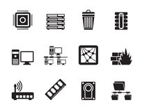 Silhouette Computer and website icons Royalty Free Stock Photo