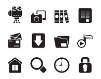 Silhouette Computer and website icons Stock Image