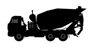 Silhouette of a concrete mixer. Royalty Free Stock Photography