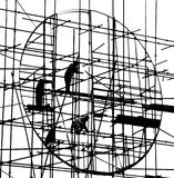 Silhouette of construction Stock Photos
