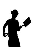 Silhouette of a Construction builder worker Royalty Free Stock Images