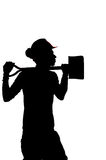 Silhouette of a Construction builder worker Stock Photo