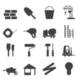 Silhouette Construction and Building Icon Set Stock Image