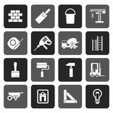 Silhouette Construction and Building icons royalty free illustration
