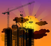 Silhouette construction building with sunset background. Vector Stock Photo