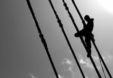 Silhouette of construction climber Royalty Free Stock Image