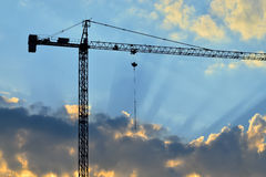 Silhouette of a construction crane Royalty Free Stock Photo