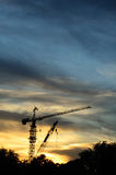 Silhouette of contruction crane Royalty Free Stock Photo