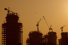 Silhouette of construction cranes. Royalty Free Stock Photo
