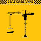 Silhouette construction cranes tower flat style Stock Photos