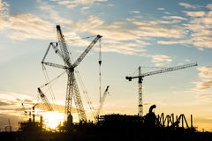 Silhouette construction Industry oil rig refinery working site. Asia in Thailand Stock Image